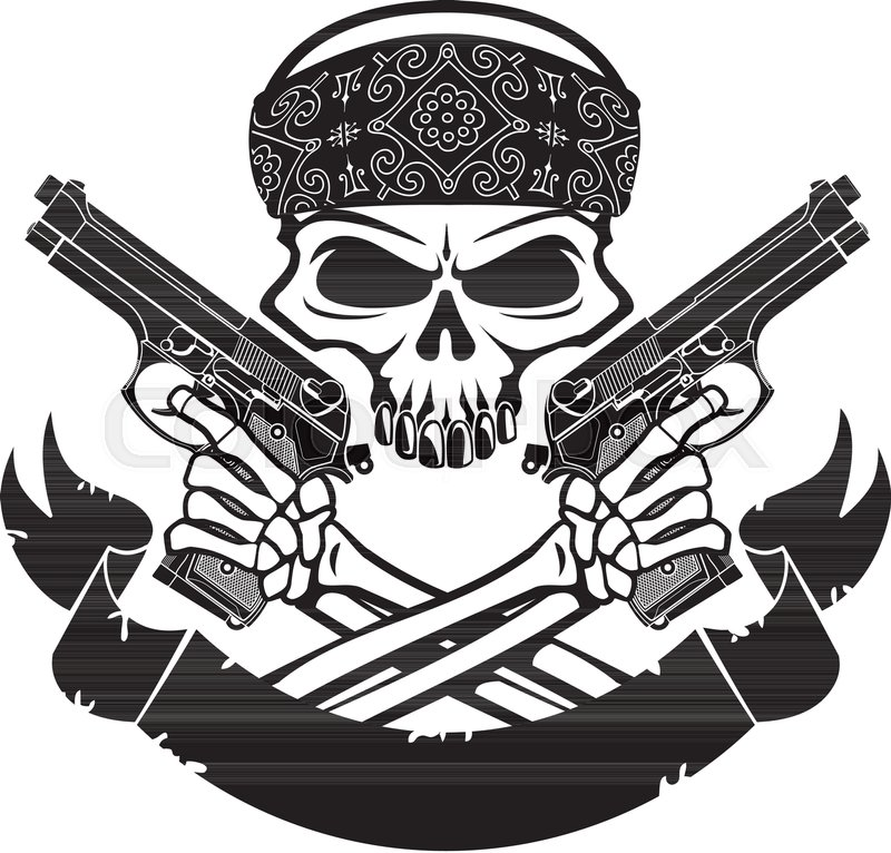 Skull Wearing Bandana Holding Pistols And Banner