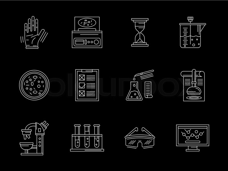 Symbols Of Research Laboratory Elements Biochemical Equipment And