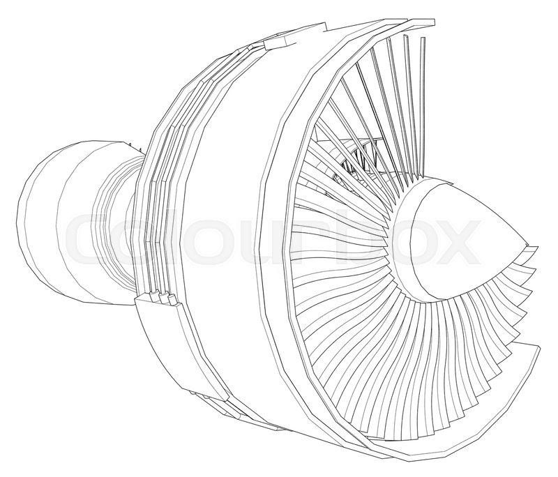 Turbo Jet Engine Aircraft Vector Line