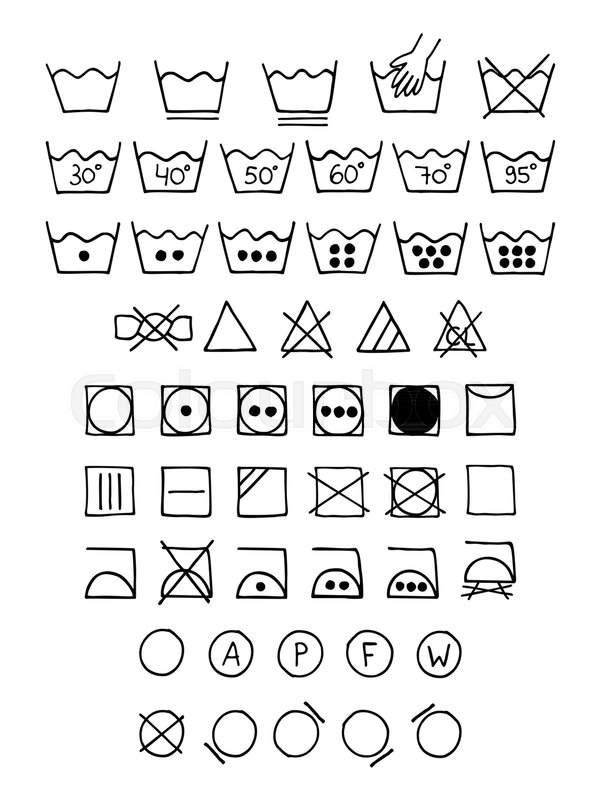 Doodle Laundry Symbols Hand Drawn Scribble Washing Icons Clothing