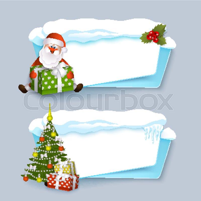 Vector Cartoon Winter Empty Banner Templates Wit Snow Caps Icicles