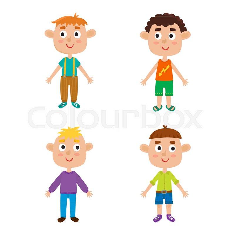 Young european boys body template - front. Cute cartoon boys ...