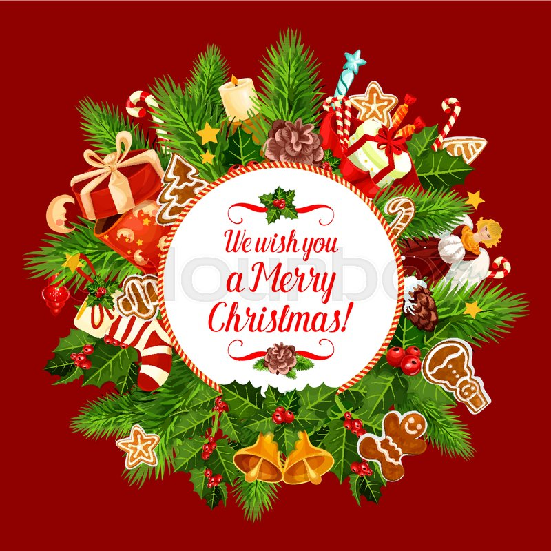 Christmas Greeting Images.Merry Christmas Greeting Card Design Stock Vector