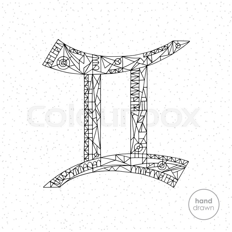 Gemini Zodiac Sign Vector Hand Drawn Horoscope Illustration Astrological Coloring Pages Collection