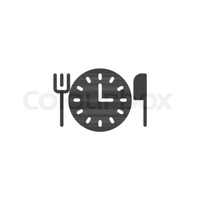 Clock With Fork And Knife Icon Vector Filled Flat Sign Solid Pictogram Isolated On White Time For Lunch Symbol Logo Illustration