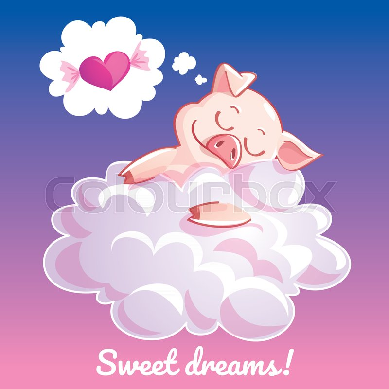 A lovely greeting card with a hand drawn pig sleeping on the cloud a lovely greeting card with a hand drawn pig sleeping on the cloud and an example text message sweet dreams vector illustration vector m4hsunfo Choice Image