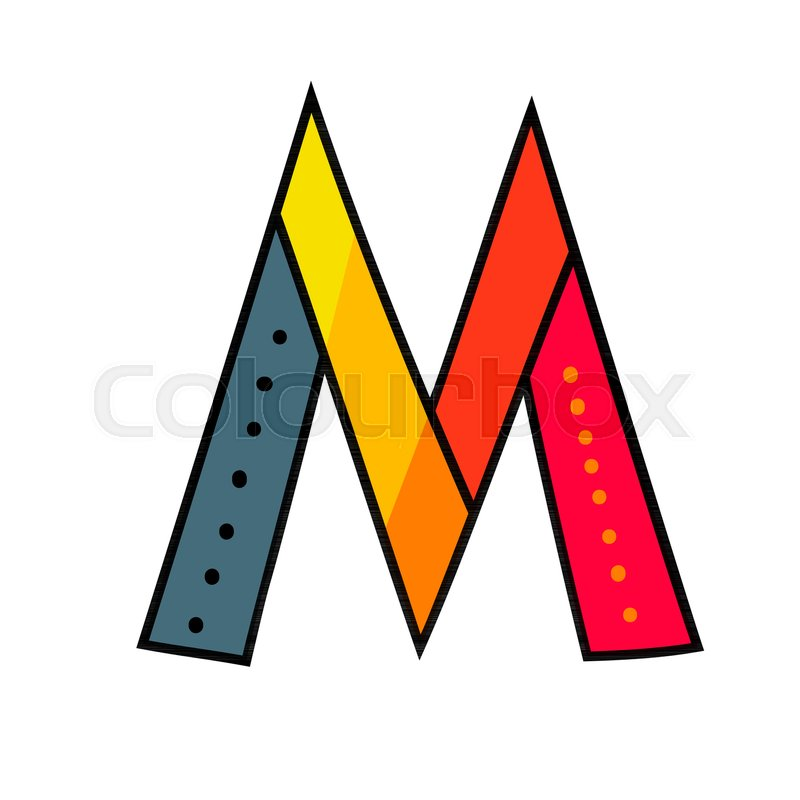 Letter M From English Alphabet Colorful Logo Template In Modern Geometric Flat Style And Vector Illustration Creative Funny Label Design Isolated On White