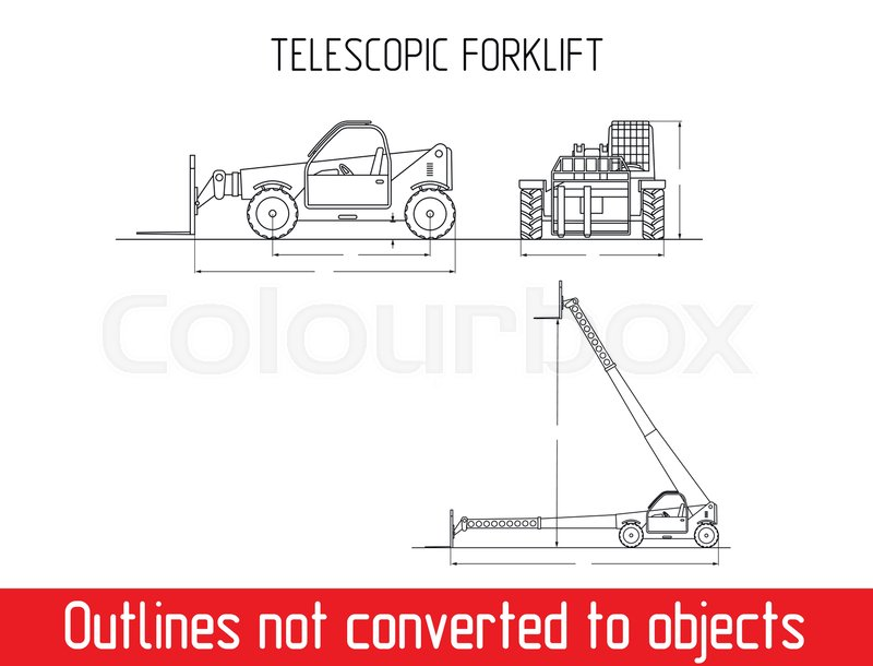 Typical telescopic handler with fork industrial crane overall typical telescopic handler with fork industrial crane overall dimensions outline blueprint template stock vector colourbox malvernweather Gallery