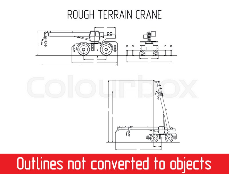 Typical rough terrane crane overall dimensions blueprint template ...
