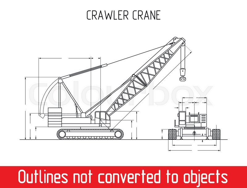 Typical crawler crane overall dimensions blueprint template ...