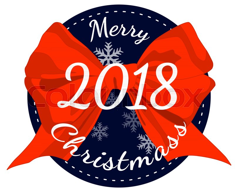 Merry Christmas Poster 2018.Merry Christmas 2018 Poster With Red Stock Vector