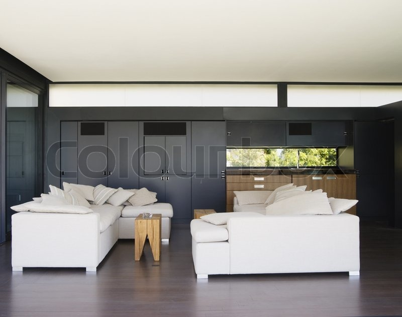 Modern living room with wet bar can be used as background for Wet bar in living room