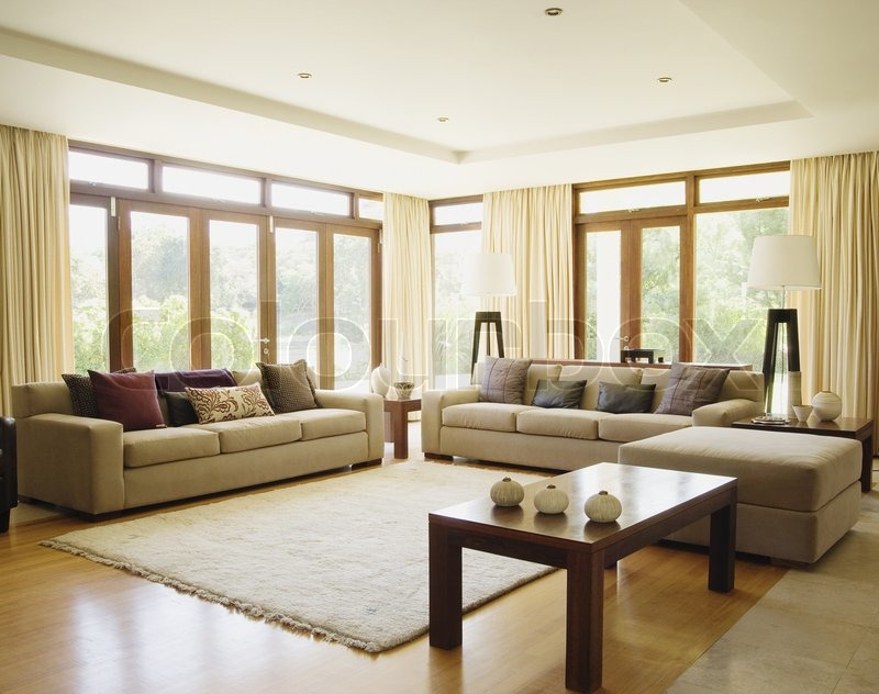 Empty living room with large windows can be as background ...
