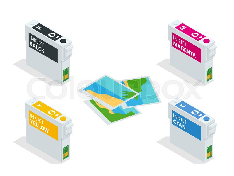 Isometric Cmyk Set Of Cartridges For Ink Jet Printer And Color Chart
