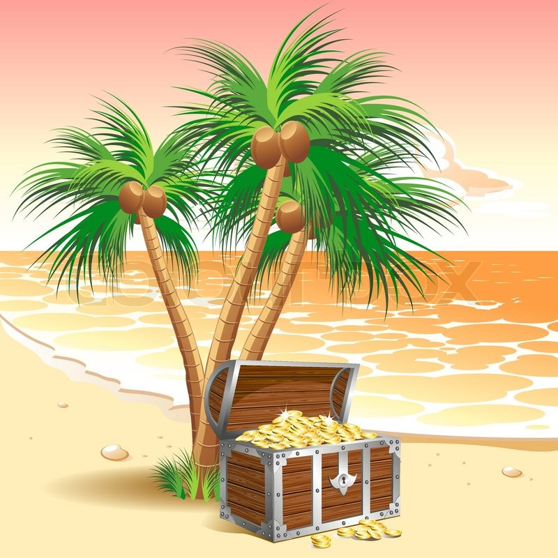 Pirate S Treasure Chest On A Tropical Beach With Palm