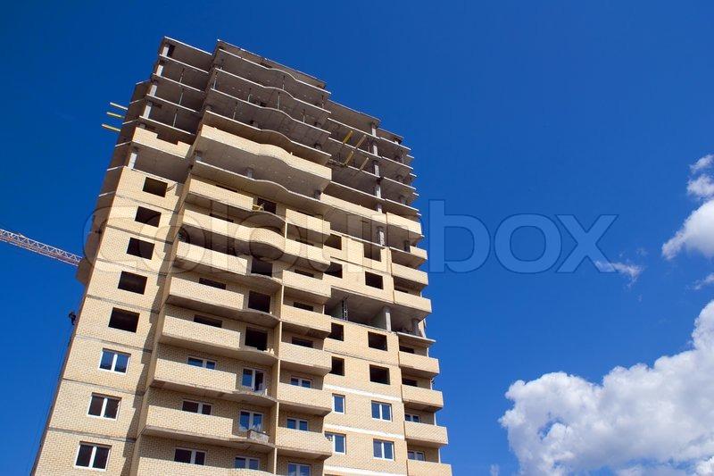Building construction in progress, stock photo