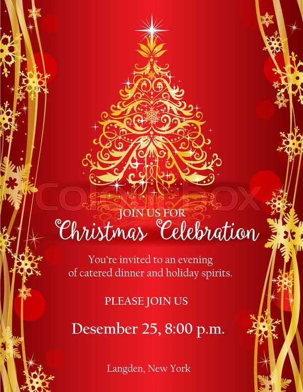 Christmas Invitation Background Gold.Christmas Party Invitation With Ornate Stock Vector