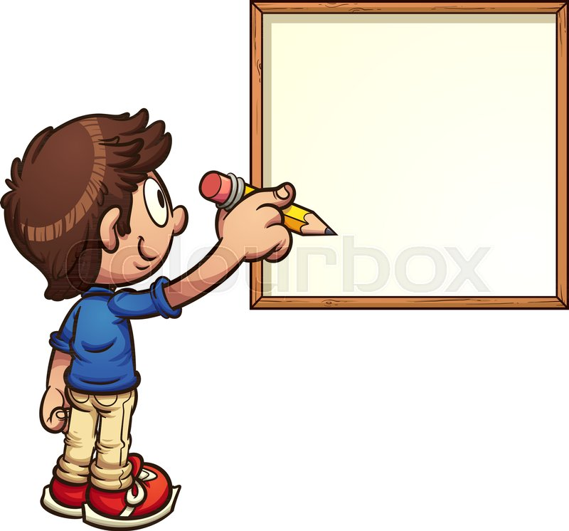 cartoon boy writing on white board vector clip art illustration rh colourbox com whiteboard and marker clipart whiteboard and marker clipart