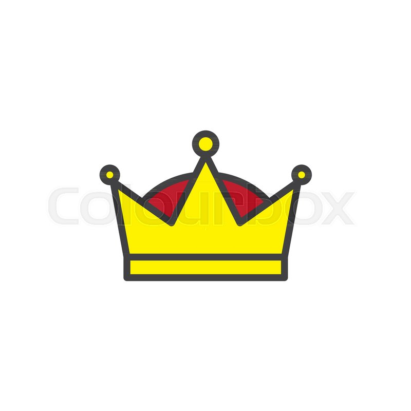 Queen Crown Filled Outline Icon Line Vector Sign Linear Colorful