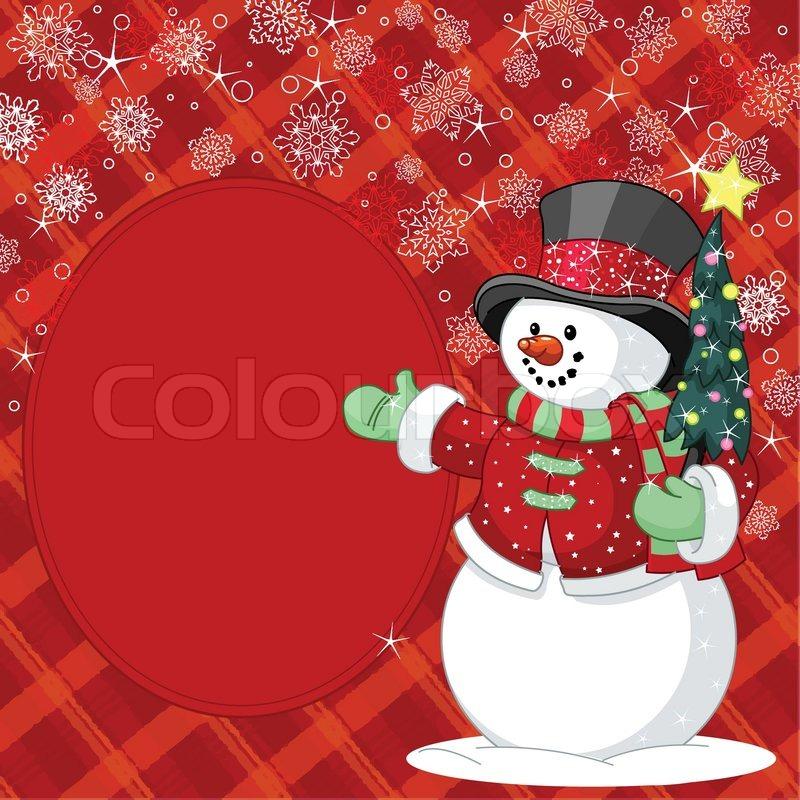 gl cklicher schneemann mit weihnachtsbaum ort karte. Black Bedroom Furniture Sets. Home Design Ideas