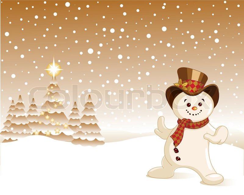 Weihnachten, Schneemann in Winterlandschaft inmitten fallenden ...