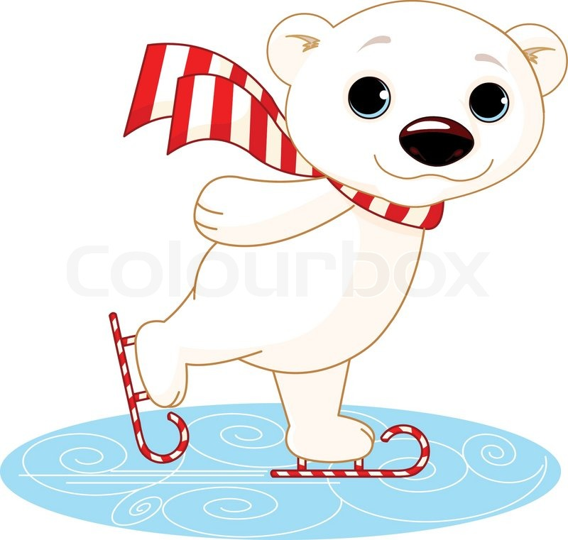Illustration Of Cute Polar Bear On Ice Skates Stock Vector Colourbox