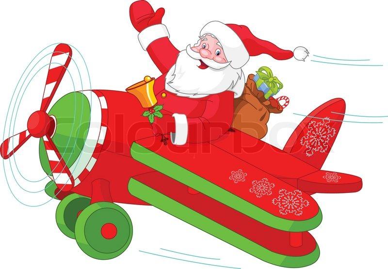 illustration of santa flying his christmas plane - Santa For Christmas