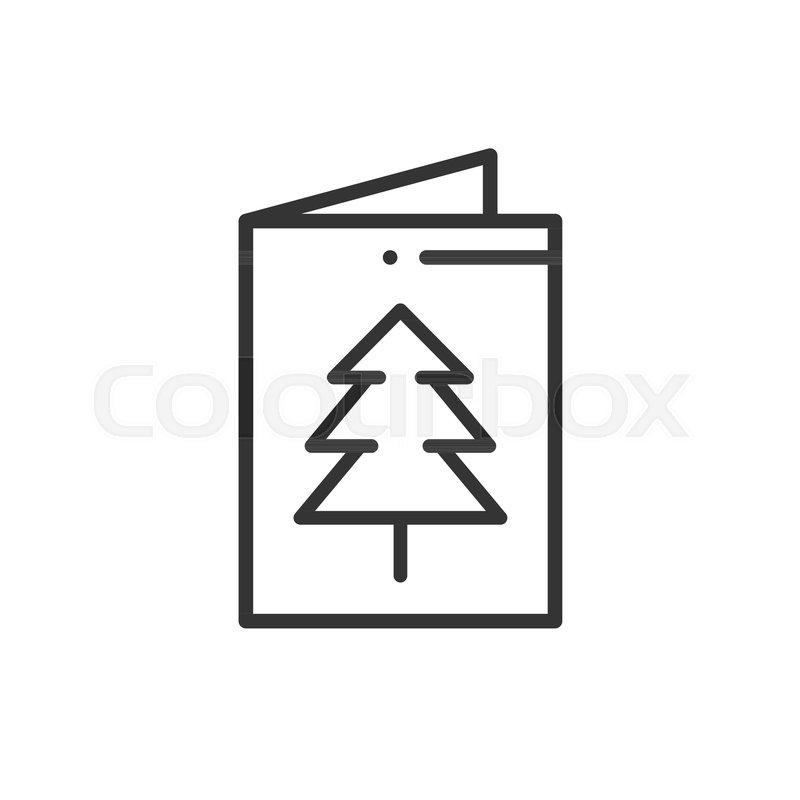 Christmas Card Icon New Year Celebration Decorated Pictogram Xmas