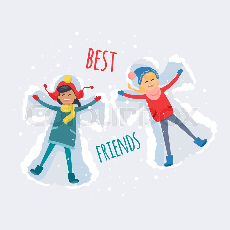 Best Friends Brunette And Redhead Stock Vector Colourbox