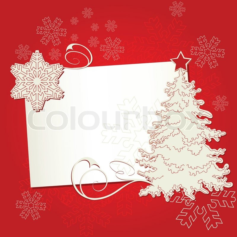 Christmas card with tree and snowflake on off-white background ...