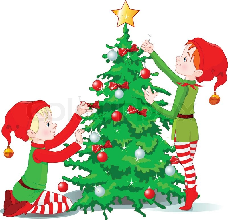 Two Cute Elves Decorating A Christmas Tree Stock Vector