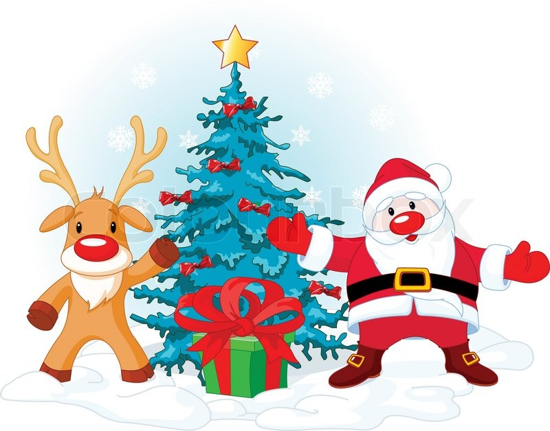 illustration of a santa claus with rudolph near christmas tree vector - Rudolph And Santa