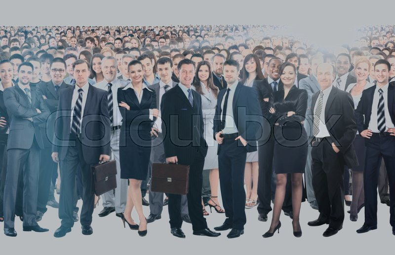 Large group of people full length isolated on white, stock photo