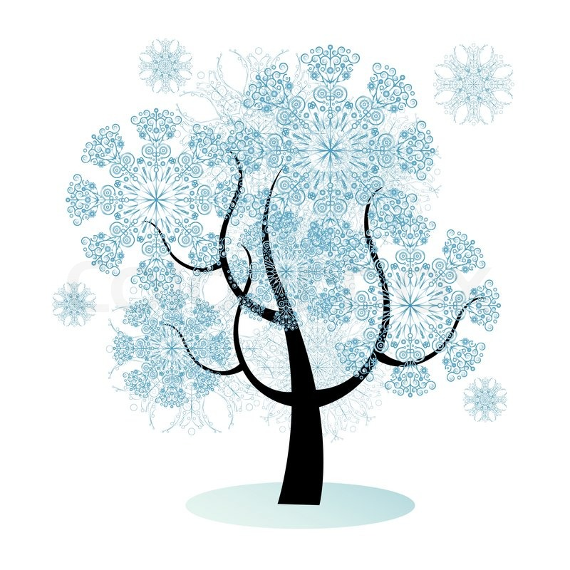Isolated vector christmas tree with snowflakes, background ...