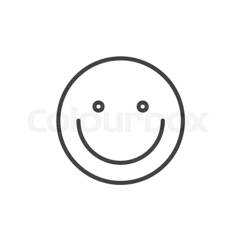 Smiling Face Emoticon Line Icon Outline Vector Sign Linear Style