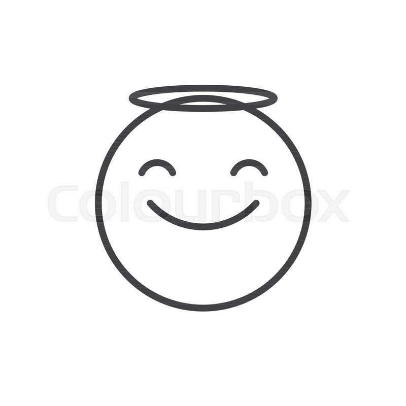 Smiling Face Emoticon With Halo Line Icon Outline Vector Sign