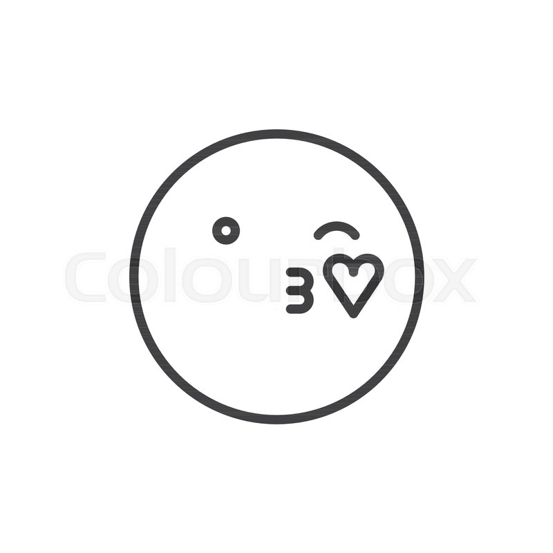 Blowing Kiss Face Emoticon Line Icon Outline Vector Sign Linear