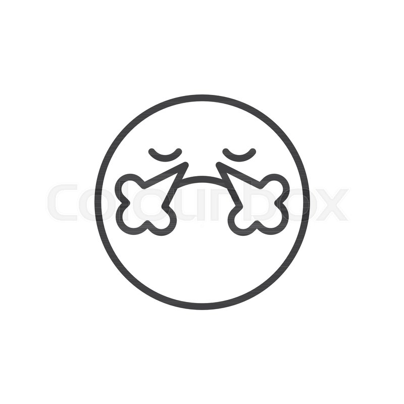 Angry Face Emoticon Line Icon Outline Vector Sign Linear Style