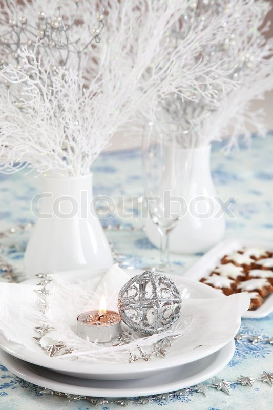 Christmas Table Setting In White And Silver Tone Stock