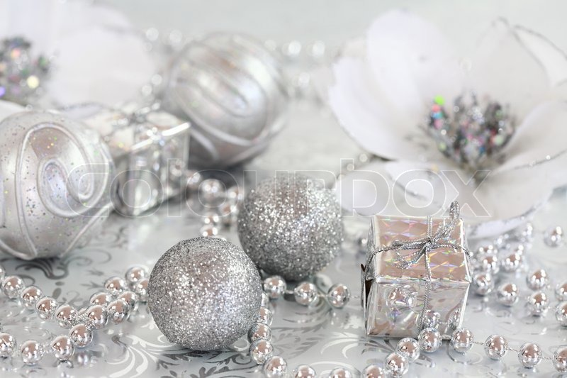 Christmas ornaments in silver and white tone stock photo for White xmas decorations