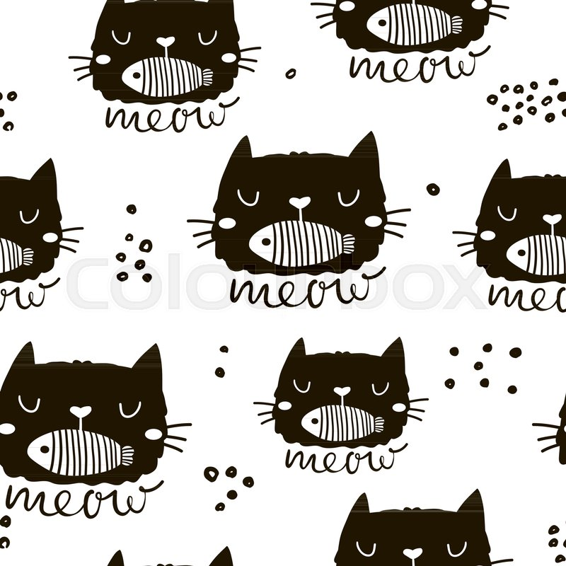 Seamless Childish Pattern With Cute Stock Vector Colourbox