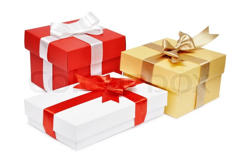 Holiday gift boxes decorated with ribbon isolated on white ...