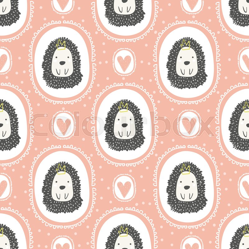 Childish seamless pattern with cute hedgehog trendy for Kids apparel fabric
