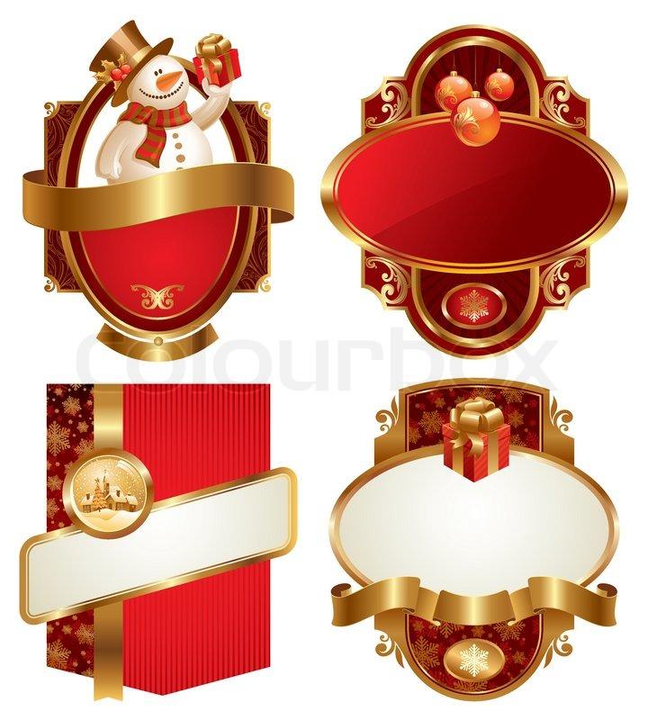 weihnachten und neujahr lyxury vector framed labels. Black Bedroom Furniture Sets. Home Design Ideas