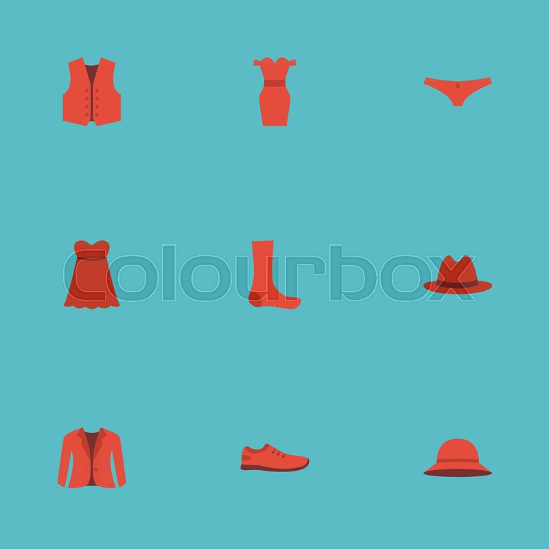 Flat Icons Lingerie Coat Gumshoes And Other Vector Elements Set