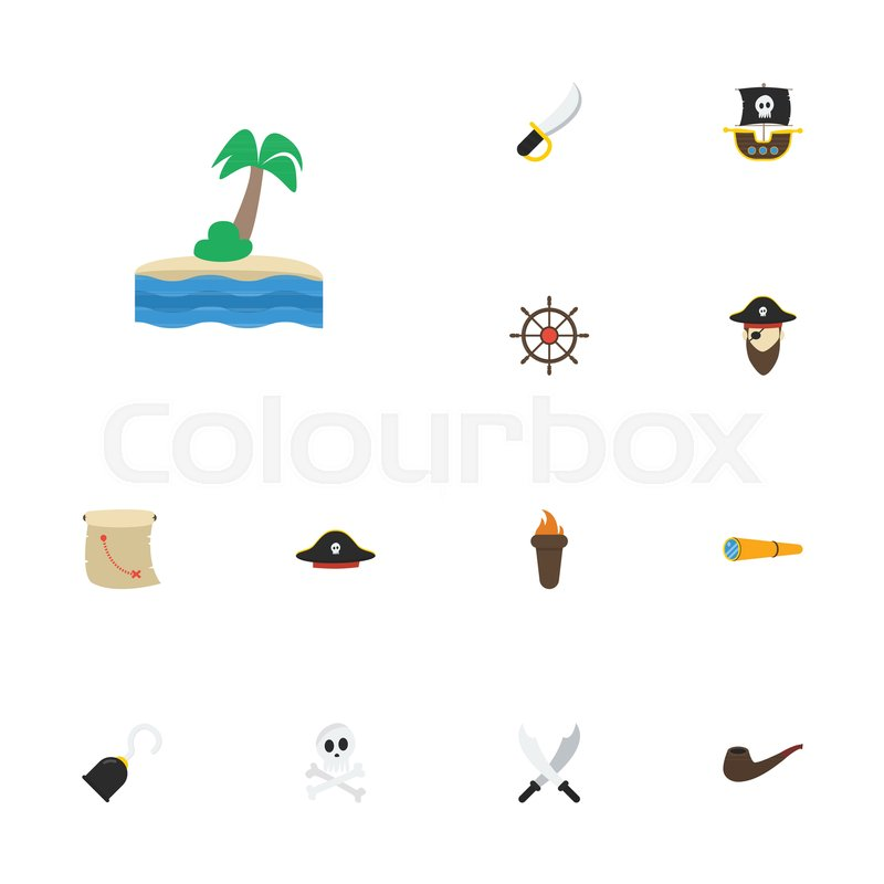 Flat Icons Corsair Treasure Map Vessel And Other Vector Elements