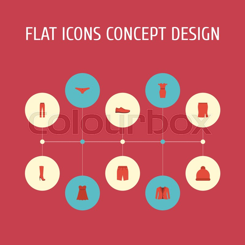 Flat Icons Pants Apparel Lingerie And Other Vector Elements Set