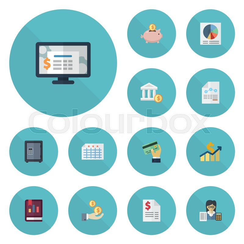 Flat Icons Safe Pie Bar Accounting System And Other Vector Elements Set Of Symbols Also Includes Profit Objects