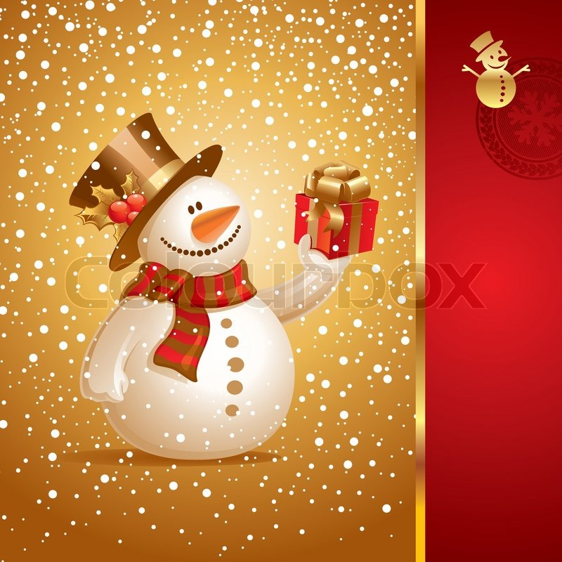 Stock vector of 'Vector Christmas card - smiling snowman with gift'