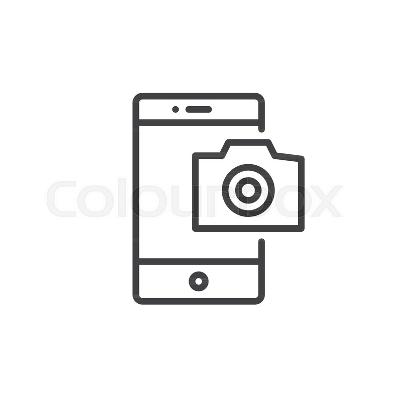 Mobile Phone Photography Camera Line Icon Outline Vector